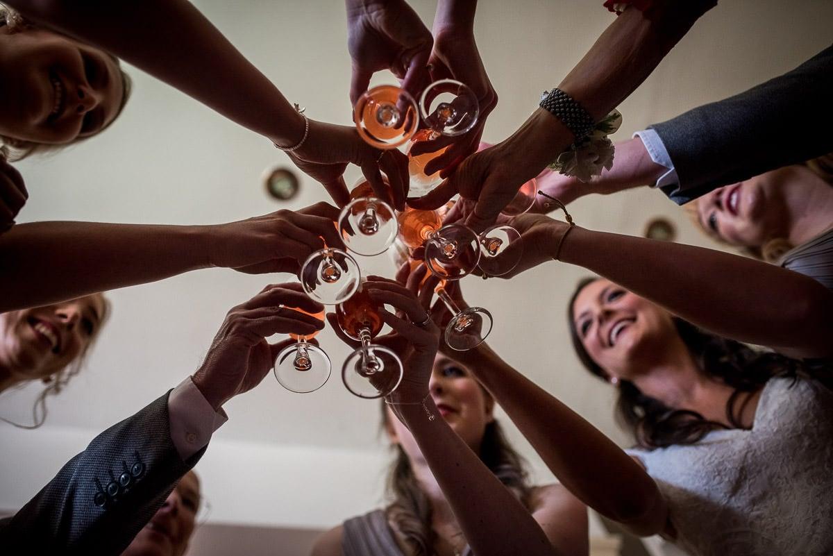 toast at peckforton castle wedding