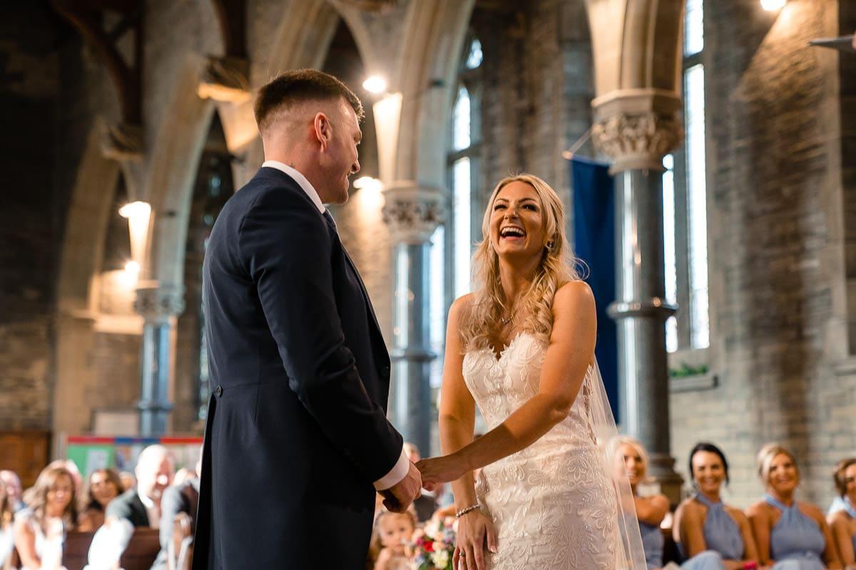 laughter at church wedding