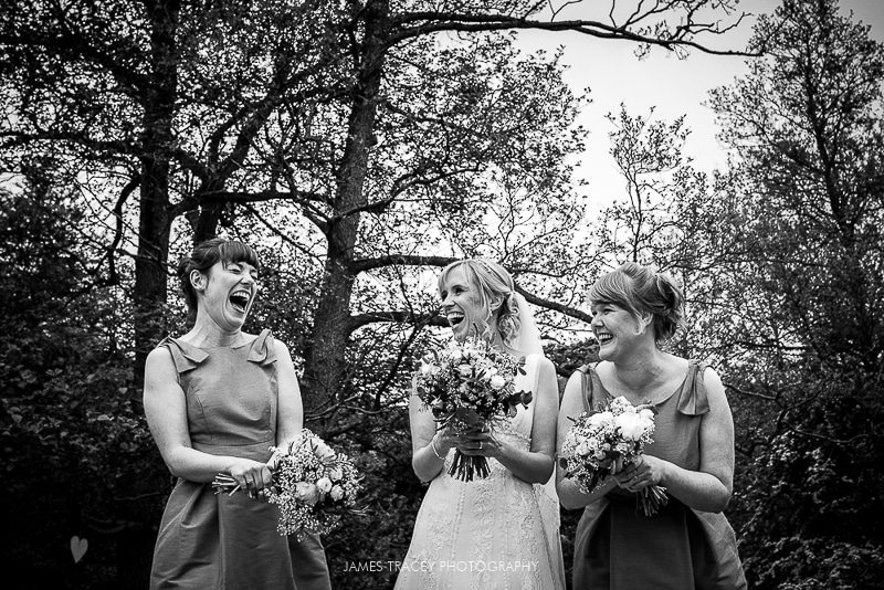 bridesmaids laughing at plough inn hathersage wedding photography