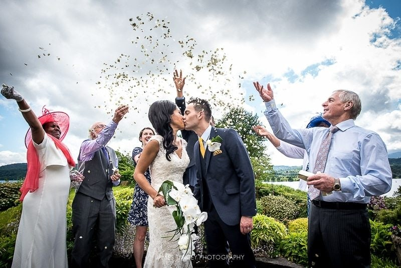bride and groom confetti shot at The Samling wedding photography