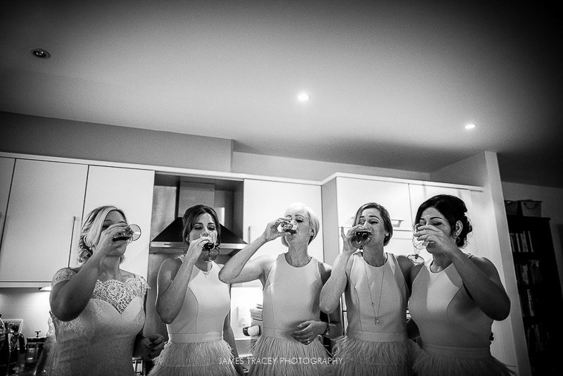 bride and bridesmaids drinking jager bomb