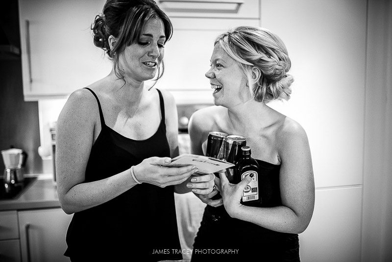 bride laughing with her friend