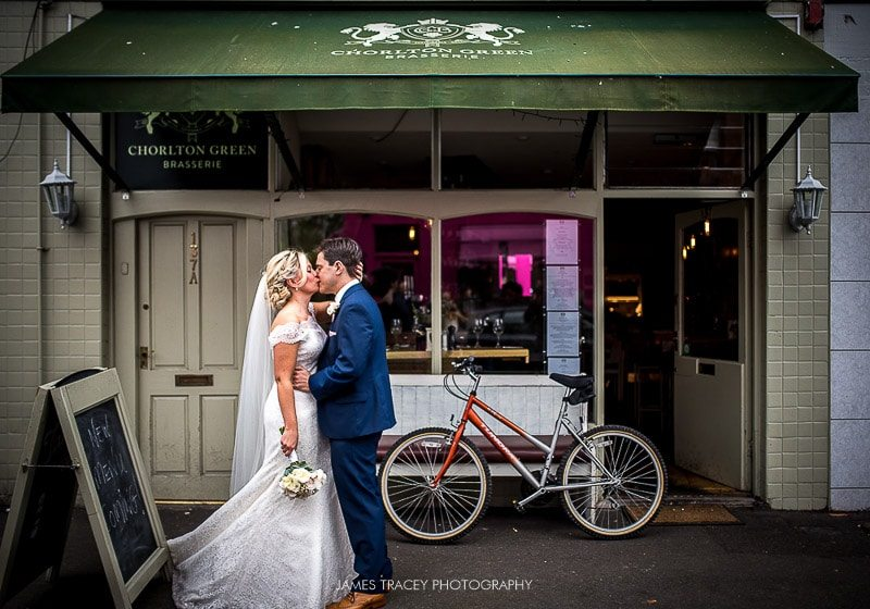 bridal couple in front of chorlton brassarie