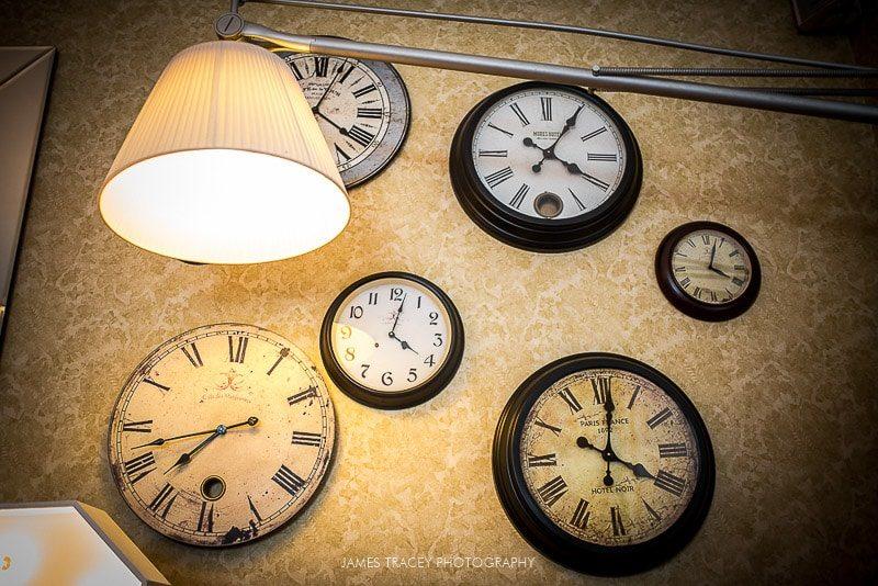 clocks on wall at didsbury house hotel