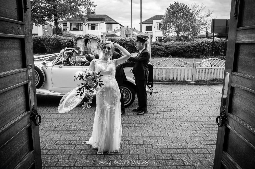 bride arriving at church