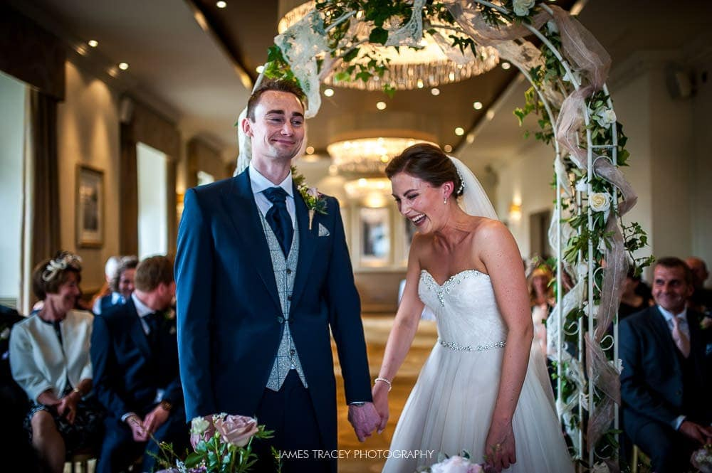 wedding couple laughing at the mansion leeds