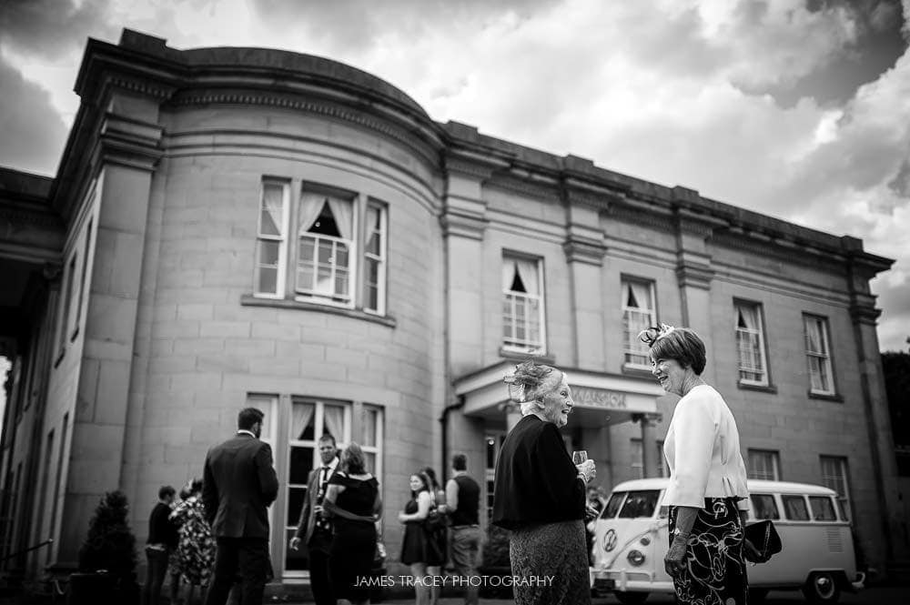 wedding guests outside the mansion leeds