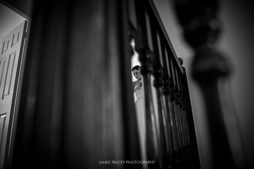 bride through bannister