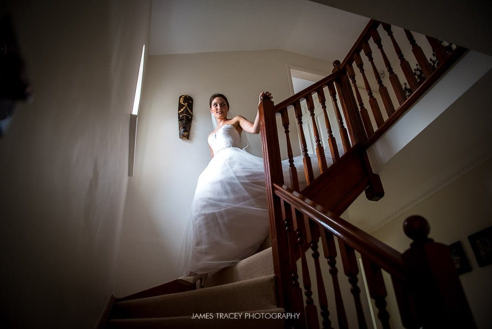 bride walking down stairs