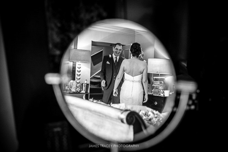 reflection of bride in mirror