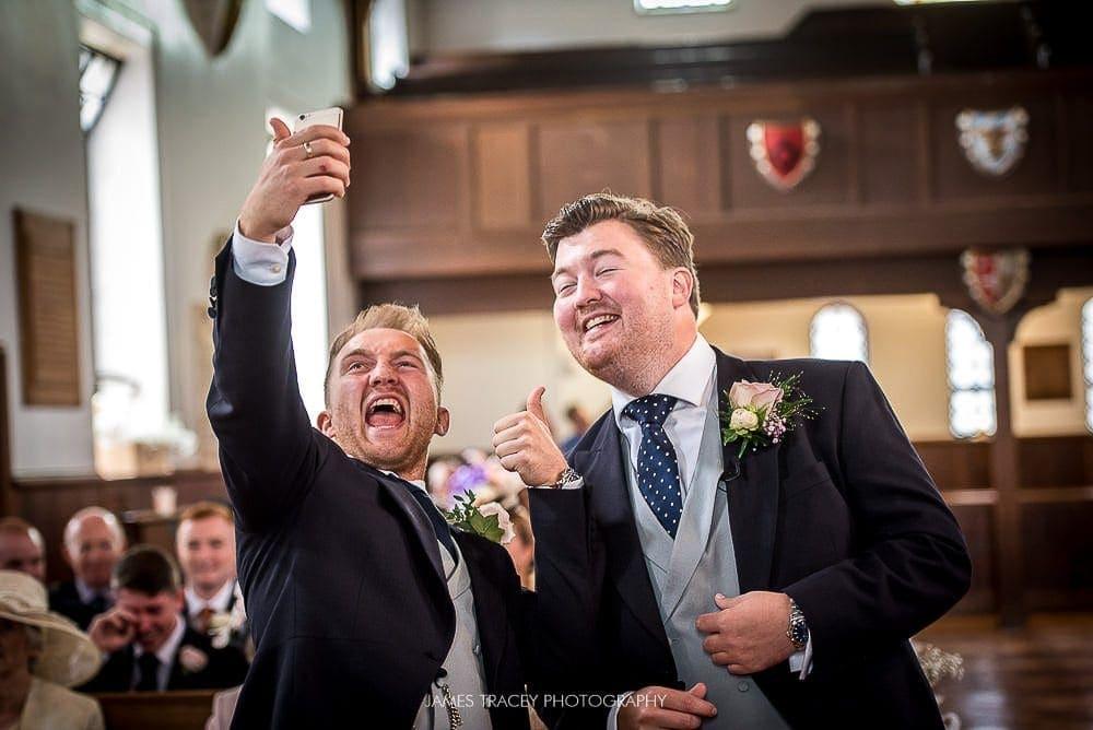 best man and groom selfie
