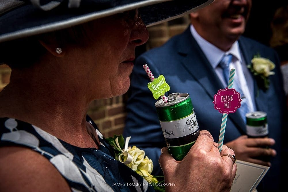 wedding guest drinking gin