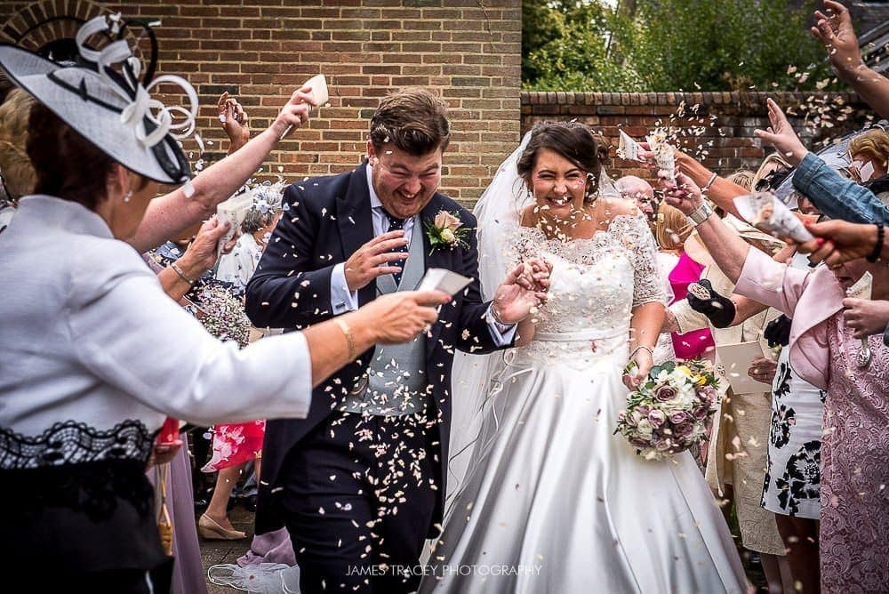 confetti photo outside church
