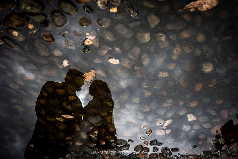 bride and groom reflected in a puddle