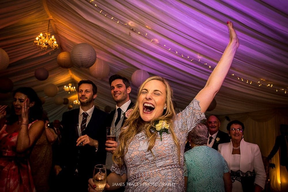 wedding guests cheering