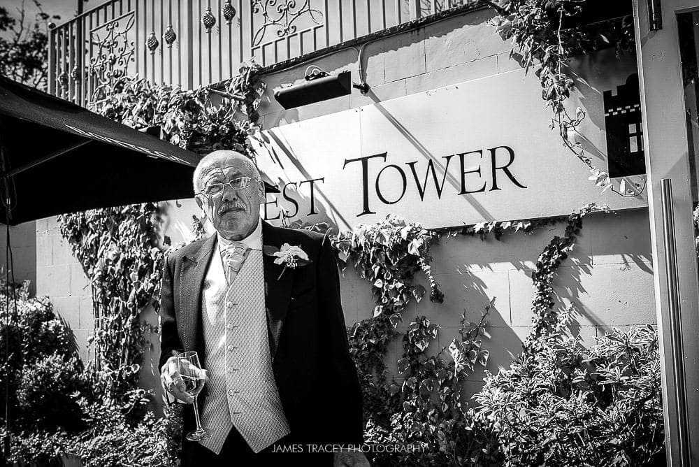 father of the bride in garden at west tower