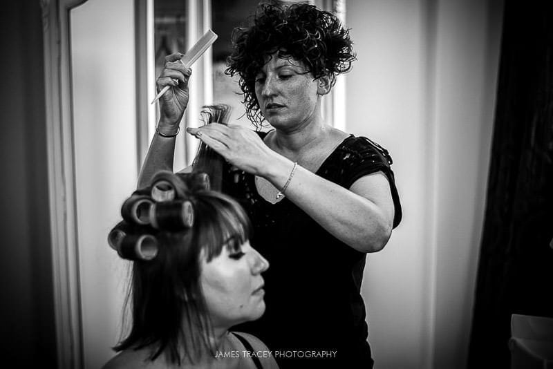 bride doing hair