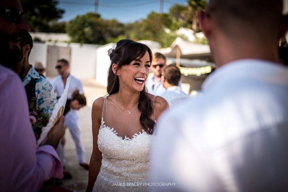 bride laughing at ibiza wedding