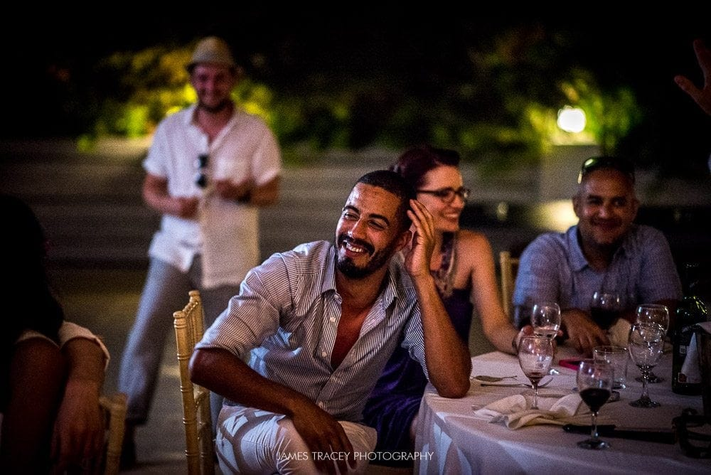 laughing wedding guest in iobiza