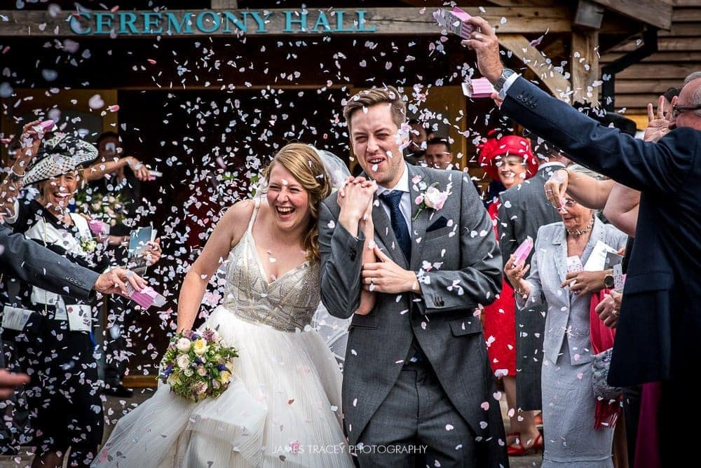 confetti at colshaw hall wedding