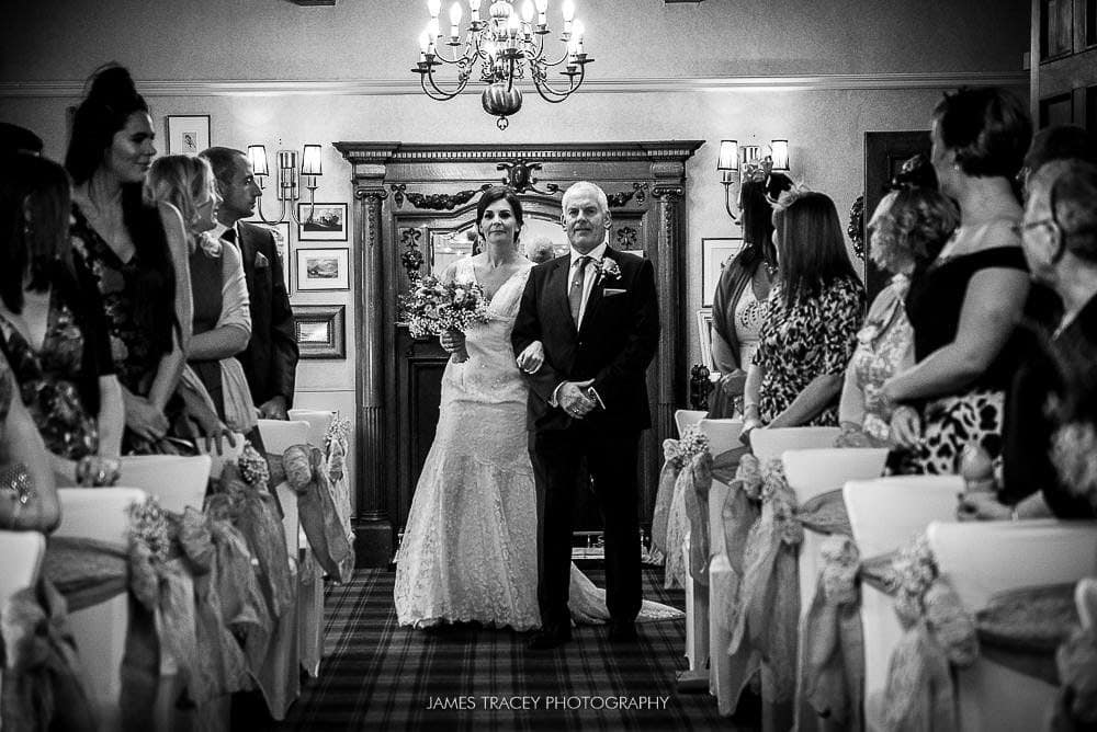bride walking up the aisle at broadoaks country house