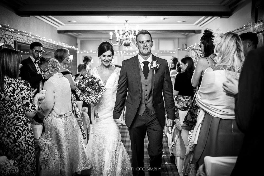 walking down the aisle at broadoaks country house