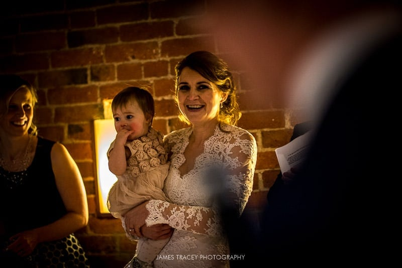 bride looking at her dad
