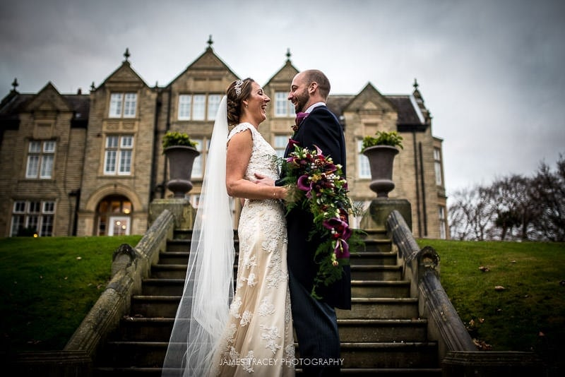 bride and groom in front of woodlands hotel leeds