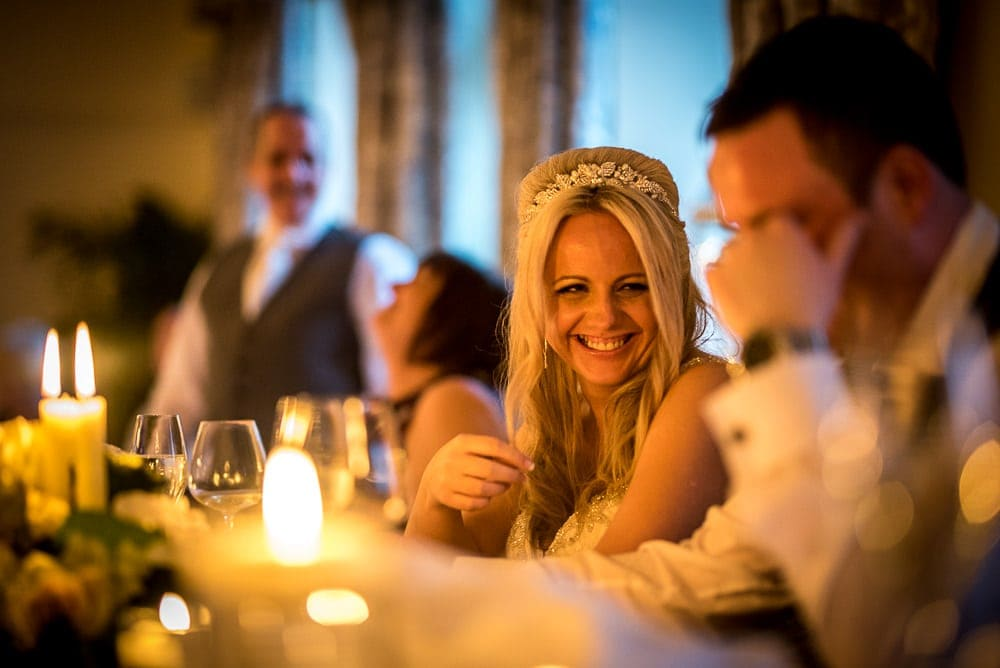 bride laughing at speeches