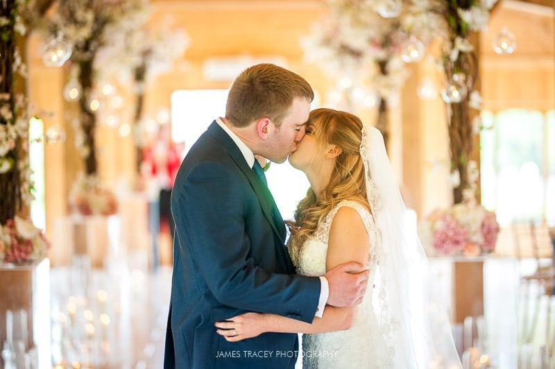 first kiss at colshaw hall wedding