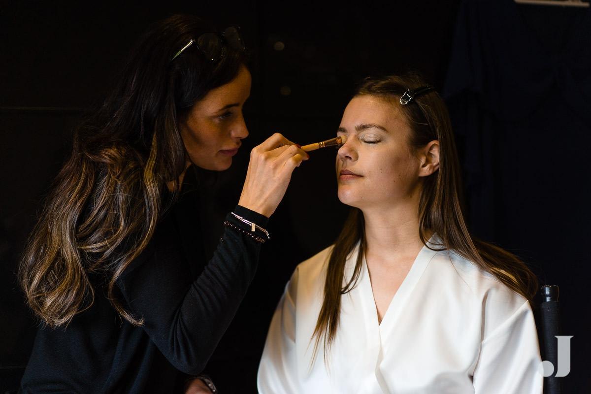 bride having make up at merrydale manor
