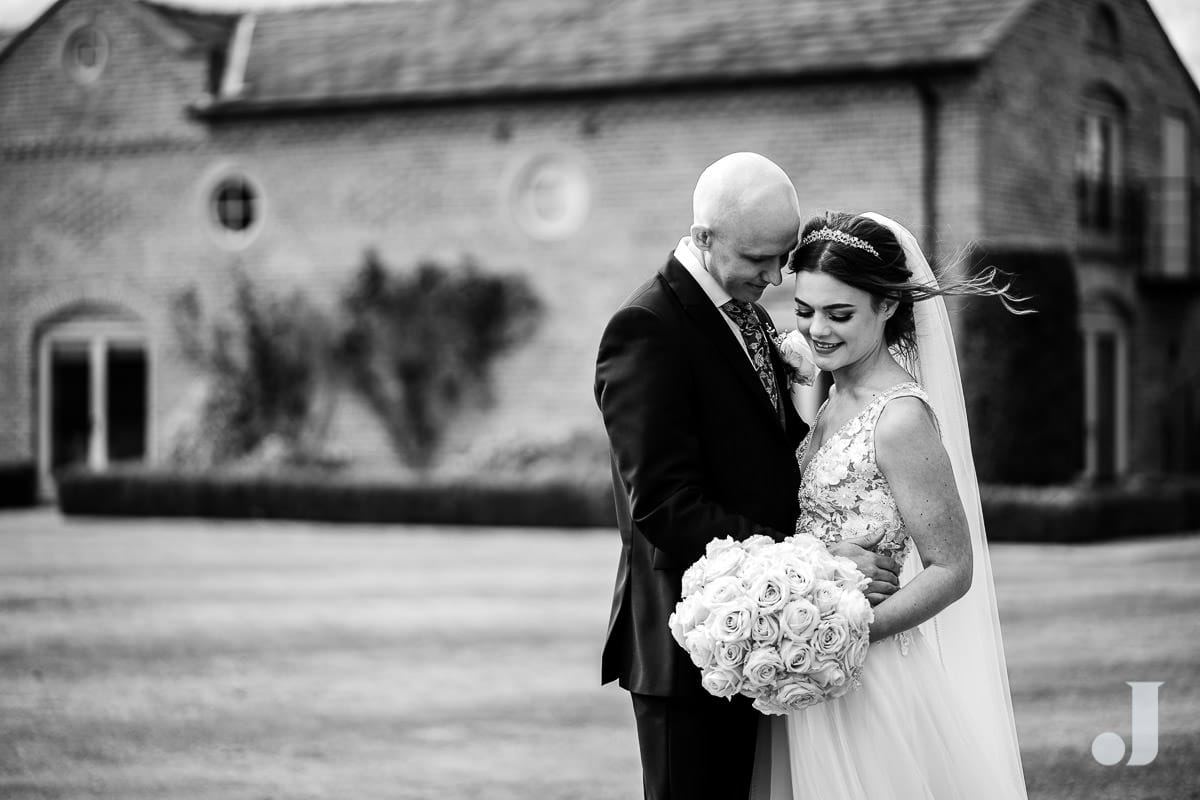 black and white merrydale manor wedding photo