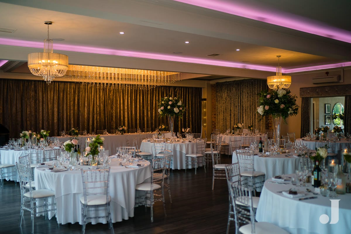 wide angle of merrydale manor wedding breakfast room