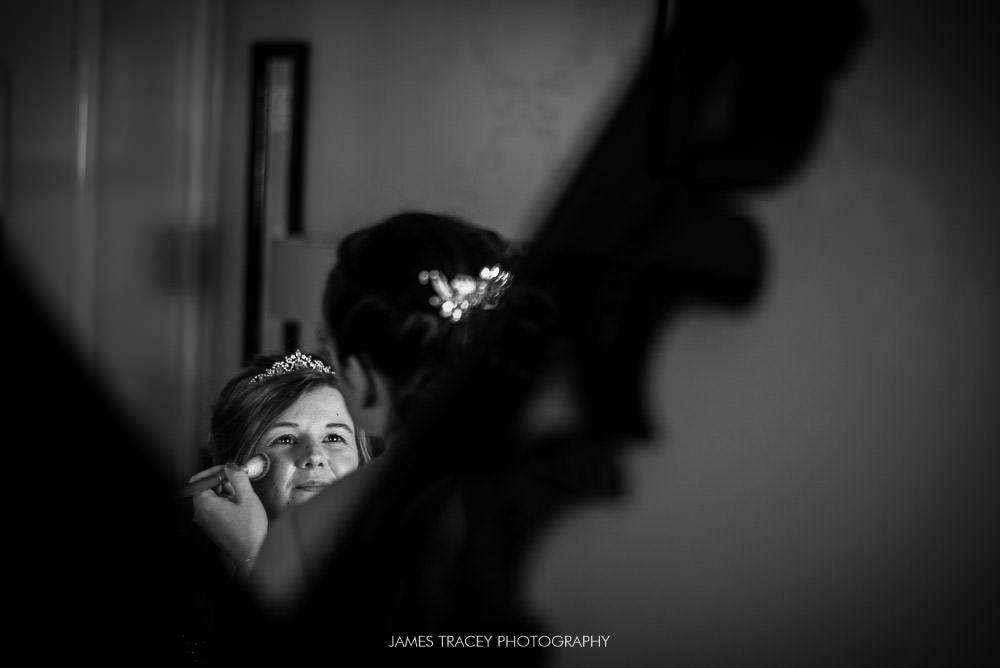bridal make up in a mirror