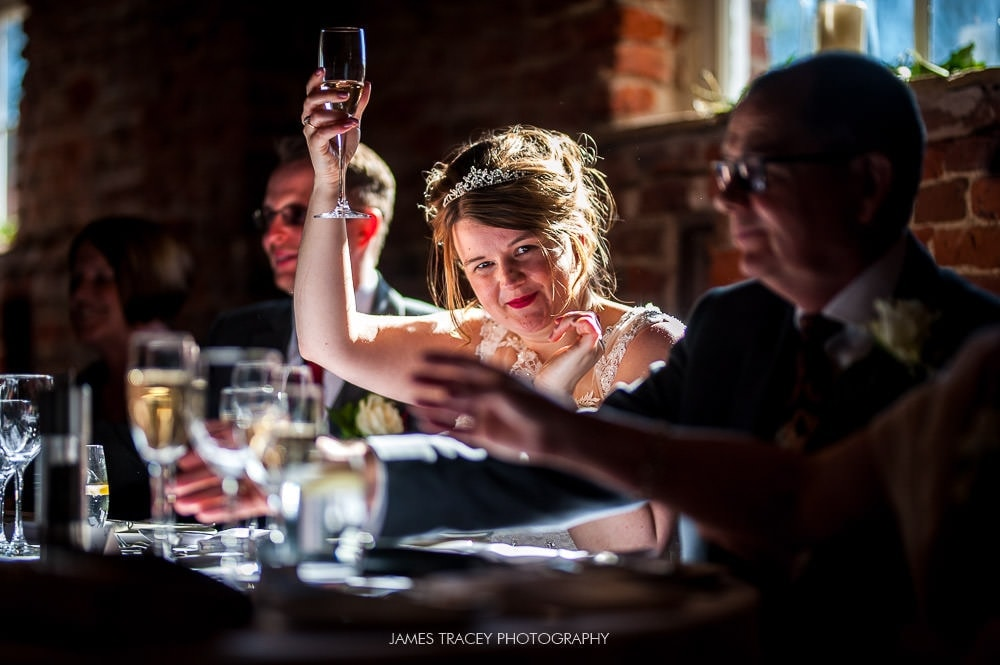 bride doing a toast