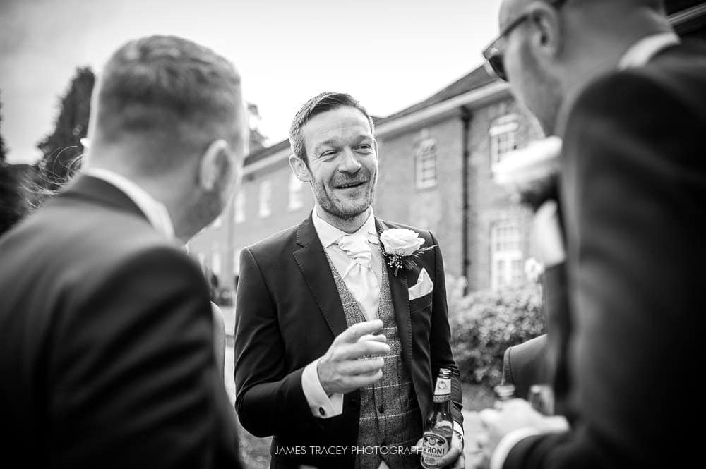 grooms chatting at mottram hall