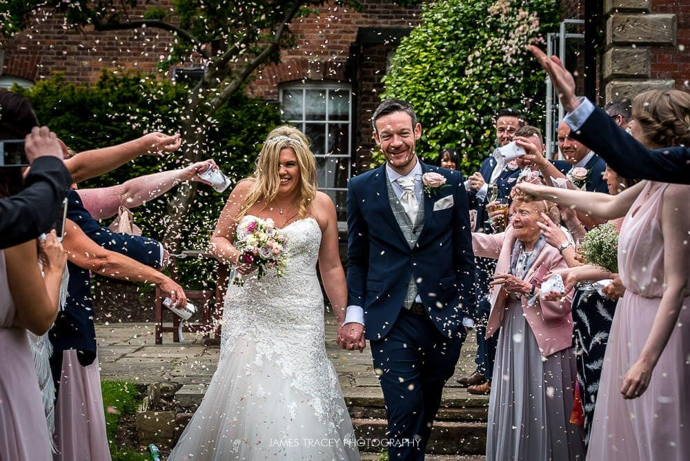 confetti at wedding at mottram hall