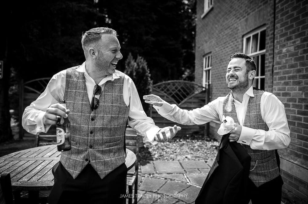 groomsmen messing about at mottram hall