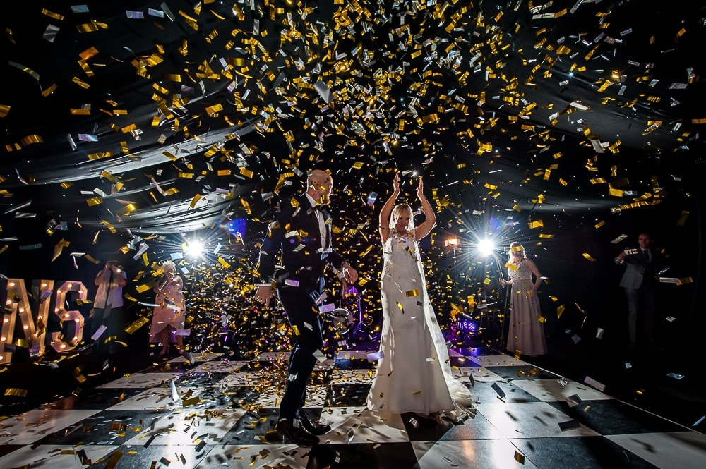 confetti explosion at nunsmere hall wedding first dance