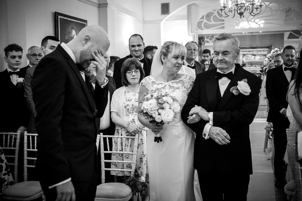 emotional groom at nunsmere hall wedding