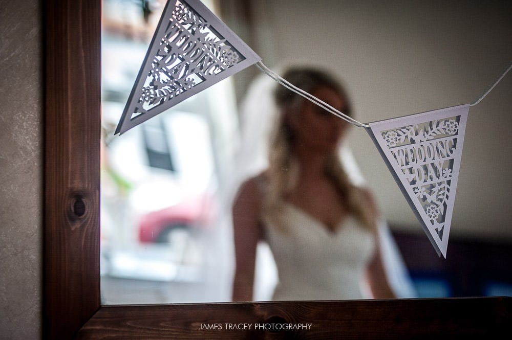 bride reflected in a mirror