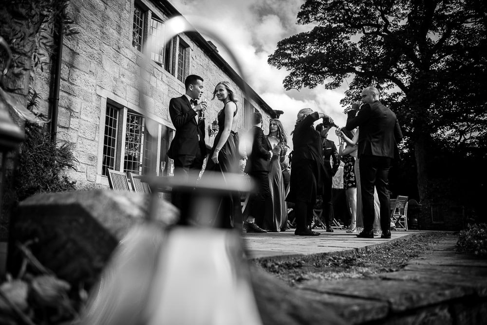black and white photo of guests at upper house hayfield