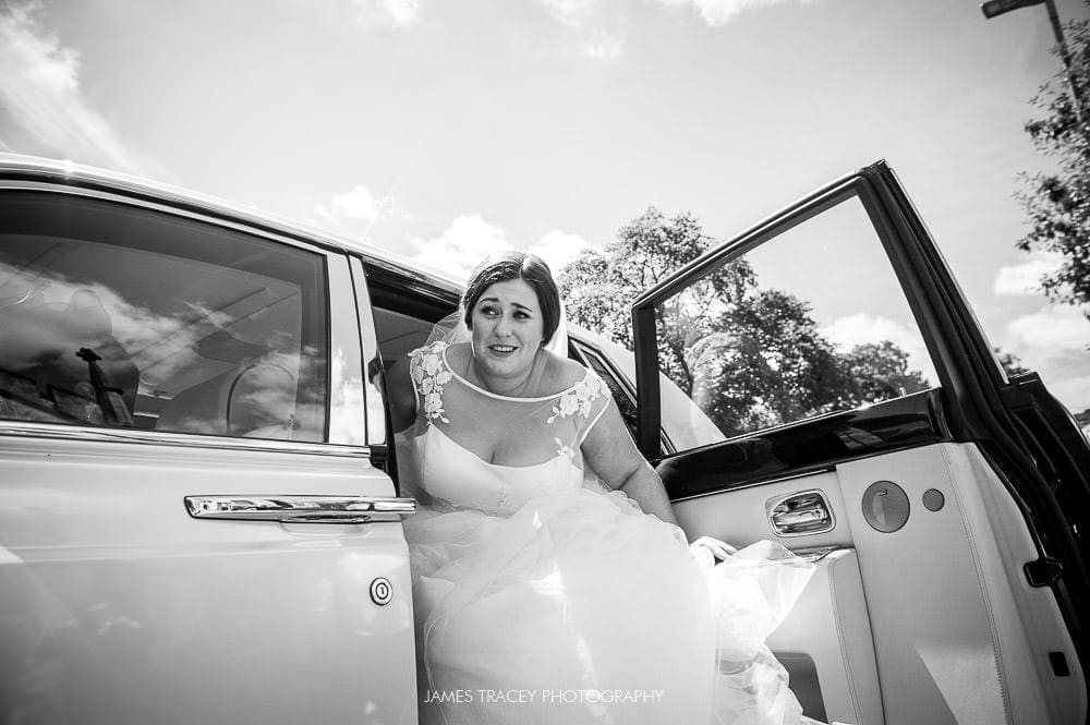 bride getting out of her car