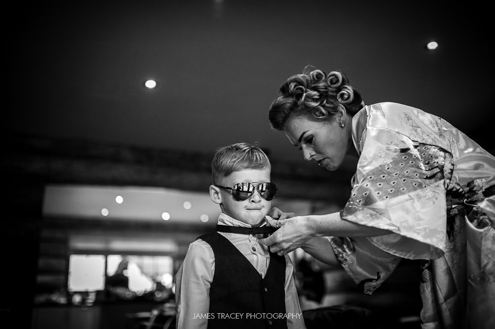bride and her son at her wedding