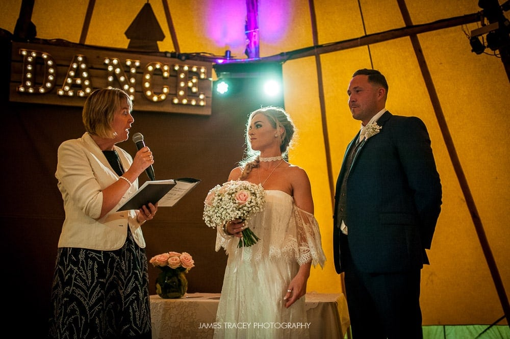 humanist wedding in a tipi