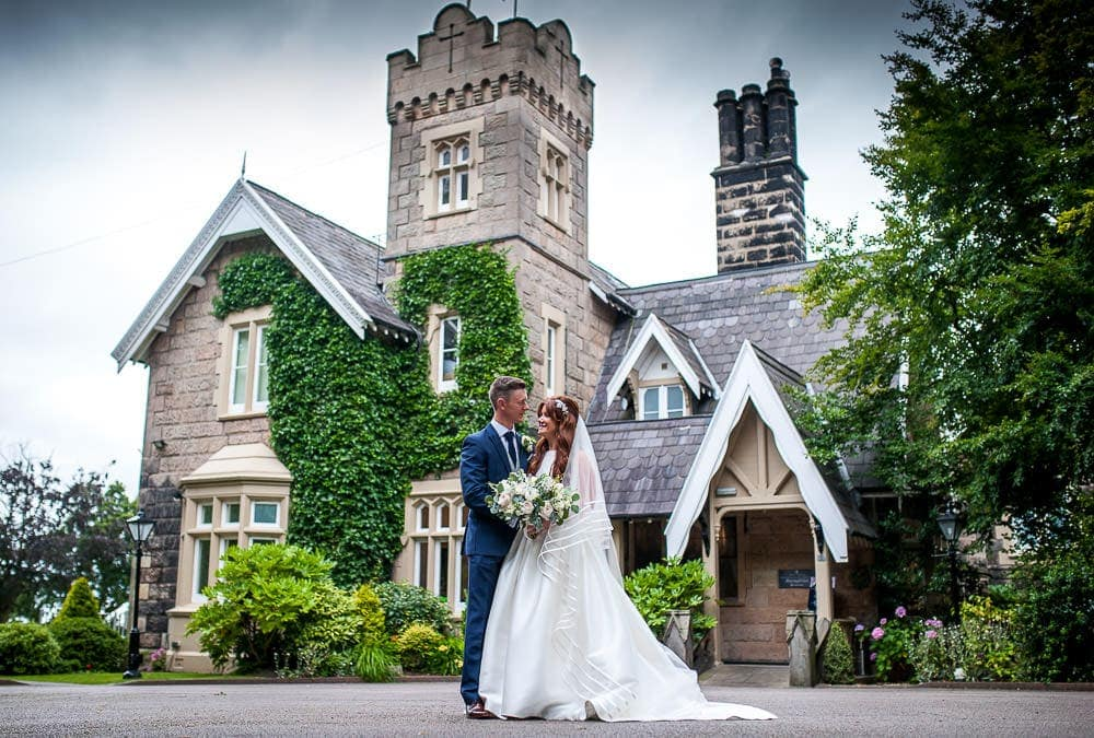 wedding photo outside west tower