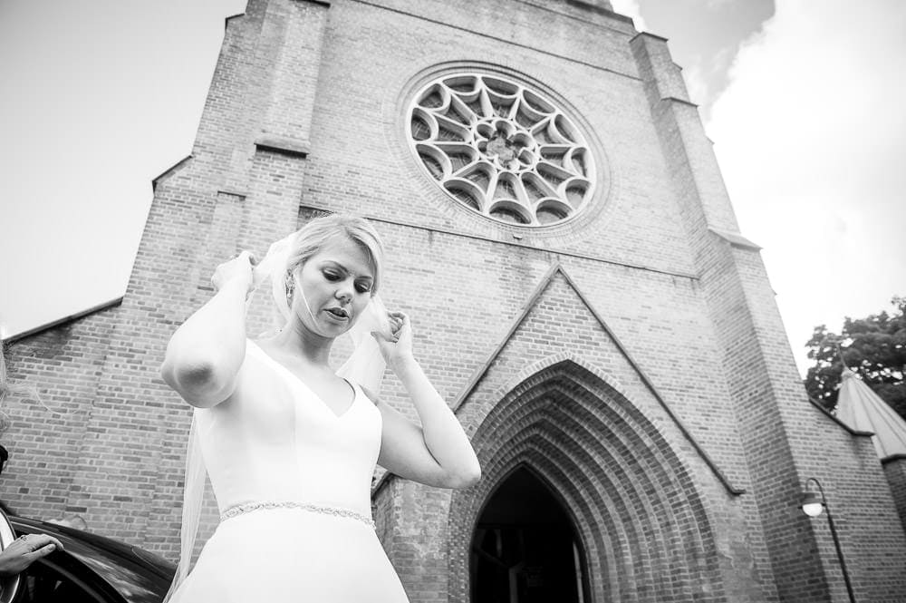 bride arriving at church in hale barns