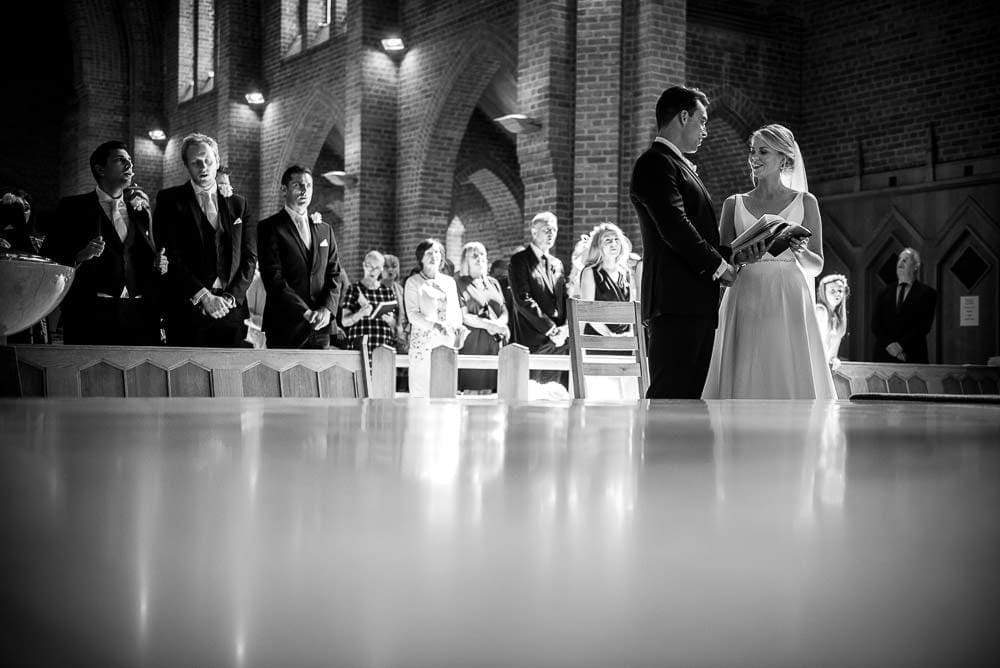 wide angle shot of church wedding