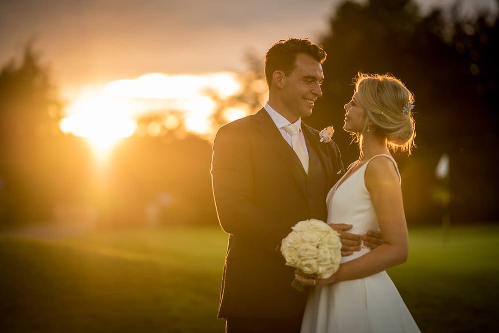 sunset at the mere knutsford resort wedding