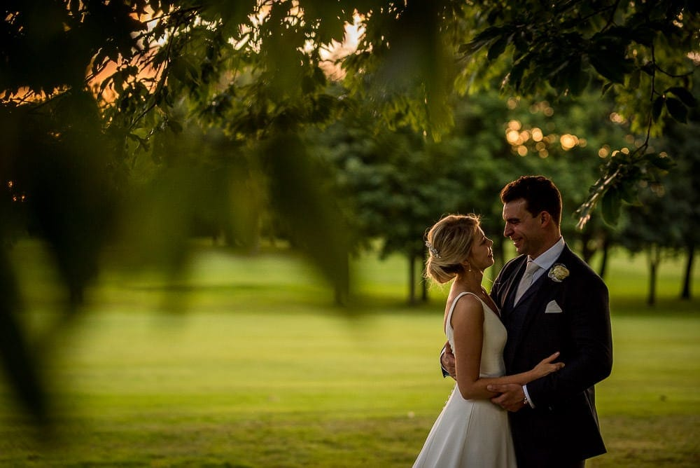 sunset wedding photography at the mere knutsford